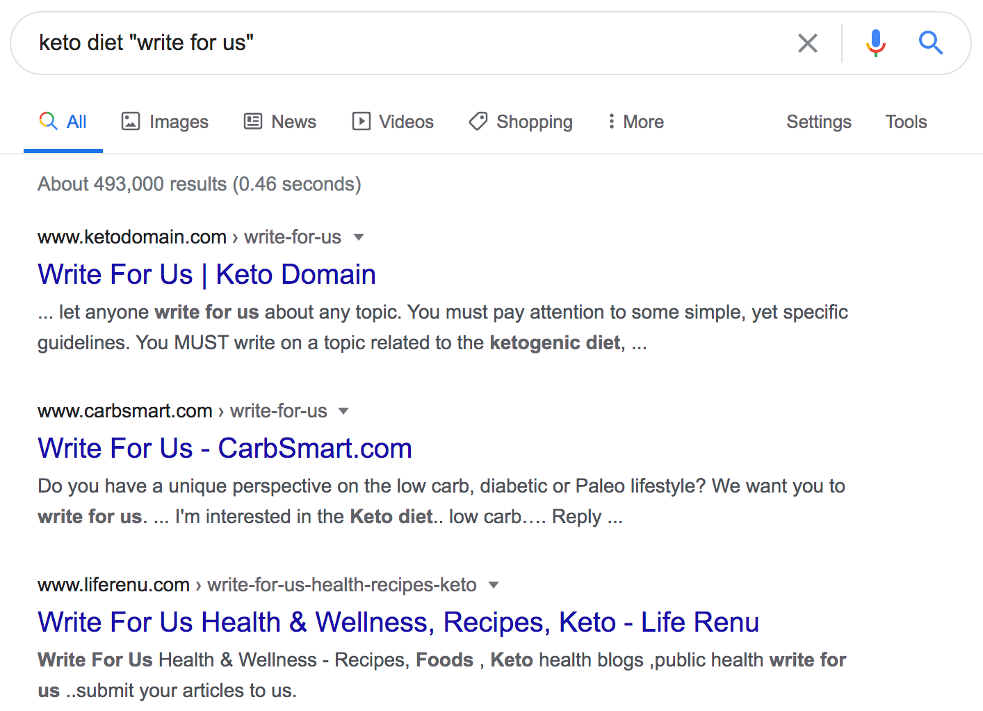"Google search of : Keto diet ""write for us"""