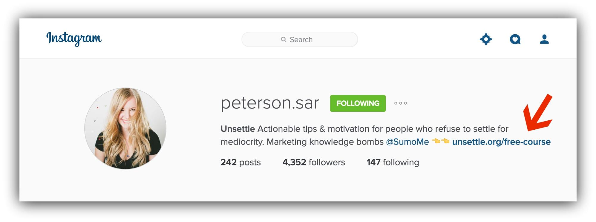 Screenshot showing sarah peterson