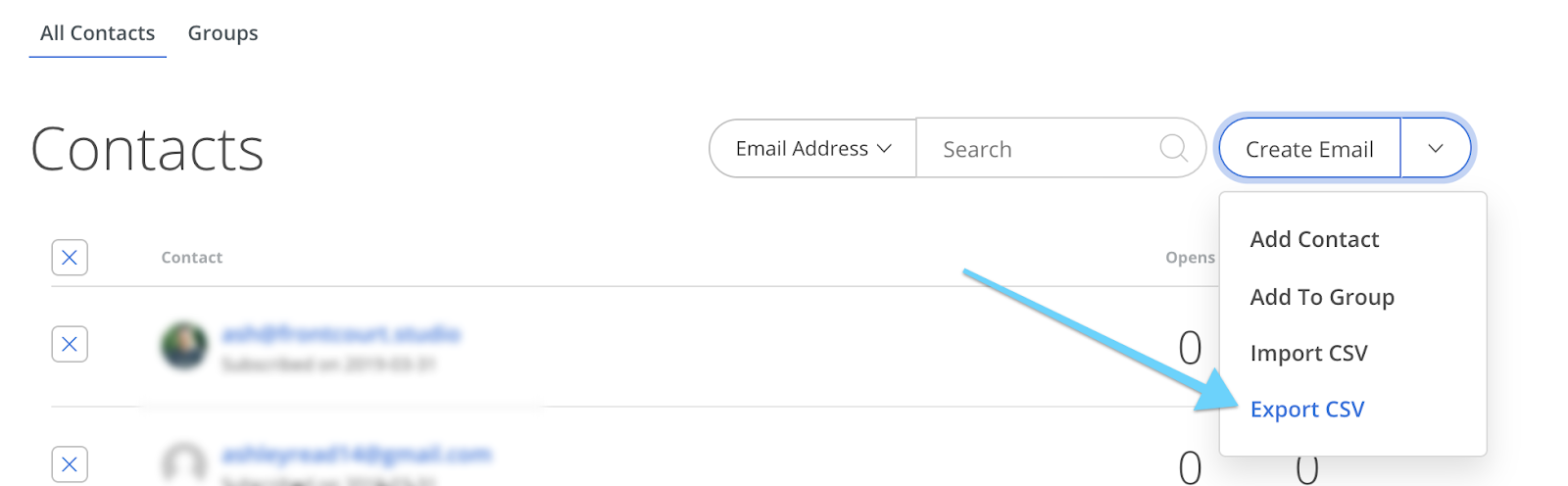 Screenshot of steps to export email list using Sumo