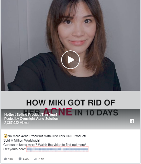 Screenshot showing a video content about acne