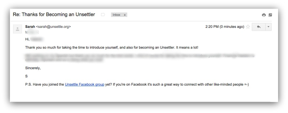 Screenshot showing an email that promotes a facebook group