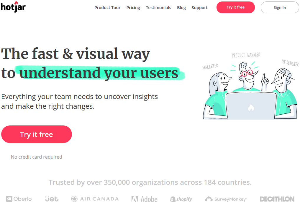 Screenshot of Hotjar website