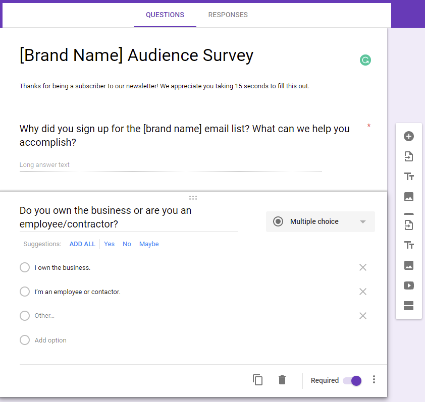 B2B Email Marketing: Screenshot of Google Forms