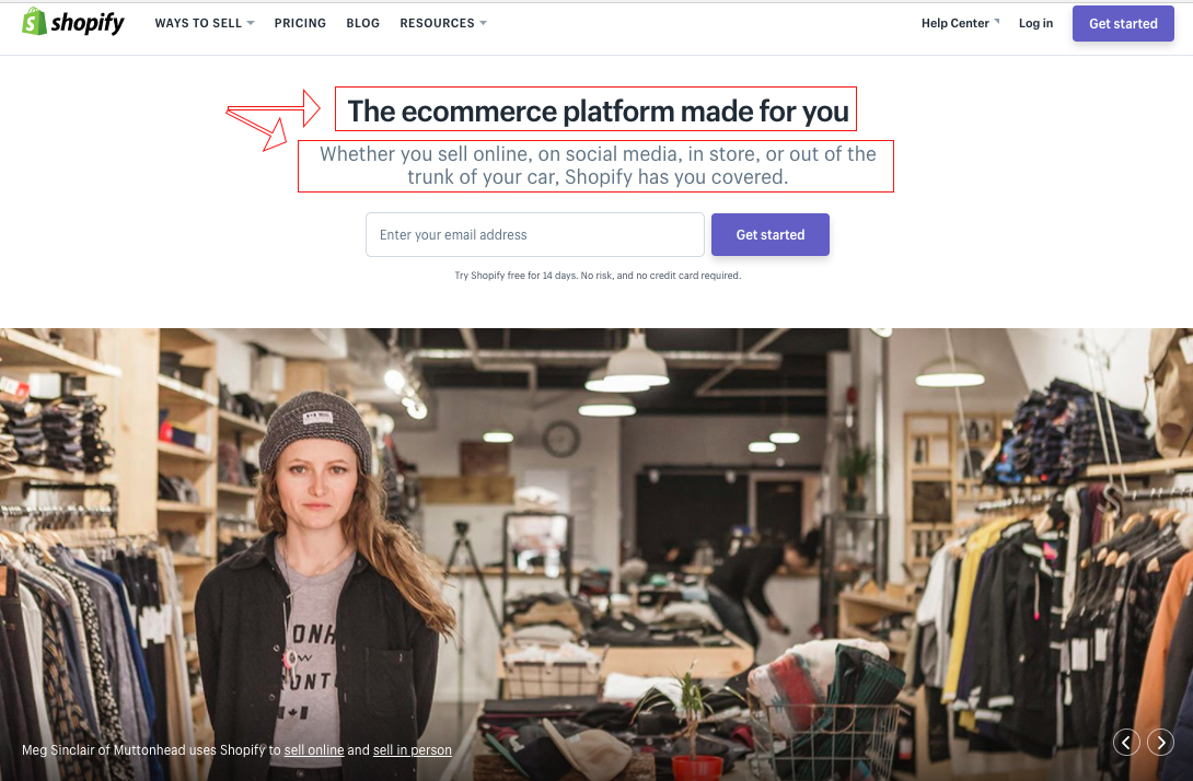 Screenshot showing copy for Shopify