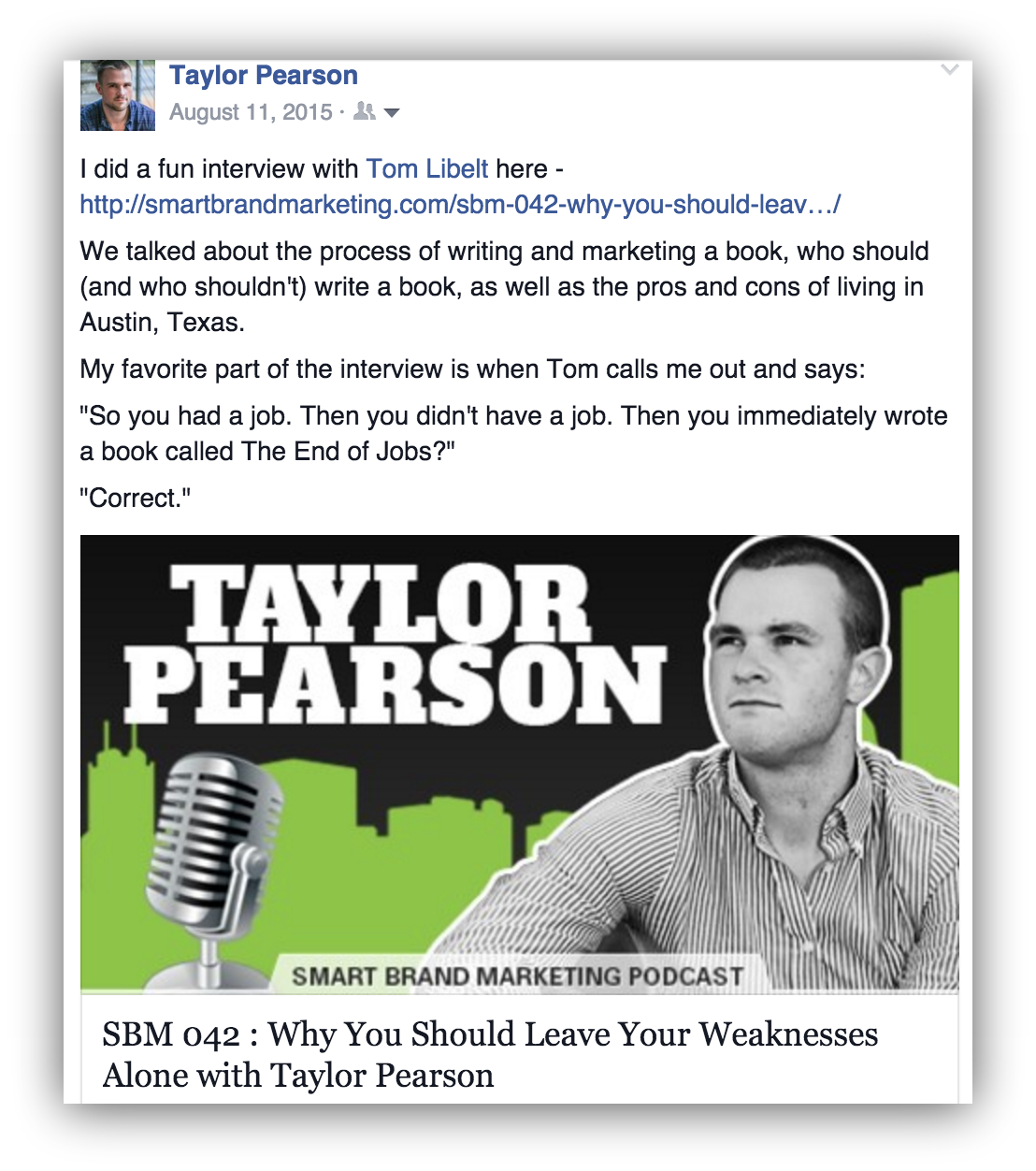Screenshot of a facebook post promoting a podcast about an interview with taylor pearson