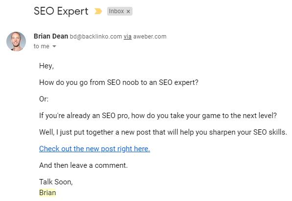 B2B Email Marketing: Screenshot of Brian Dean