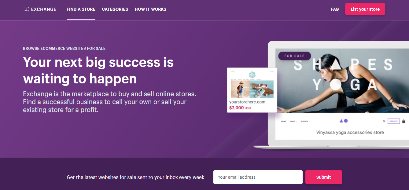 screenshot showing the shopify business exchange landing page