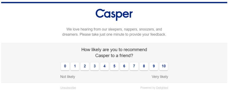 Email survey embedded by Casper