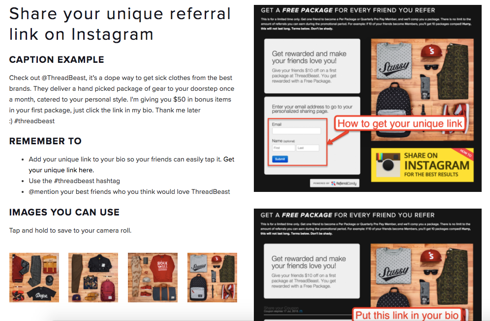 Screenshot showing instructions on referral programs