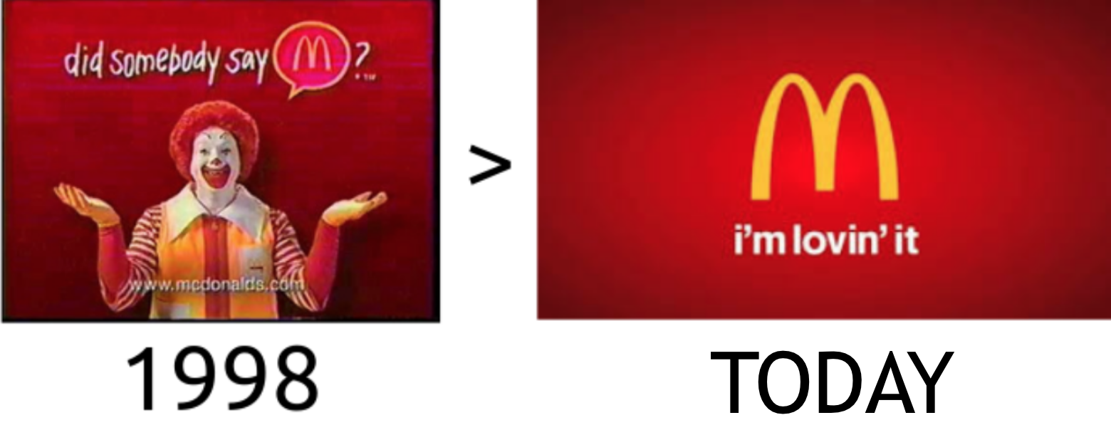 Screenshot of change in tagline for McDonald