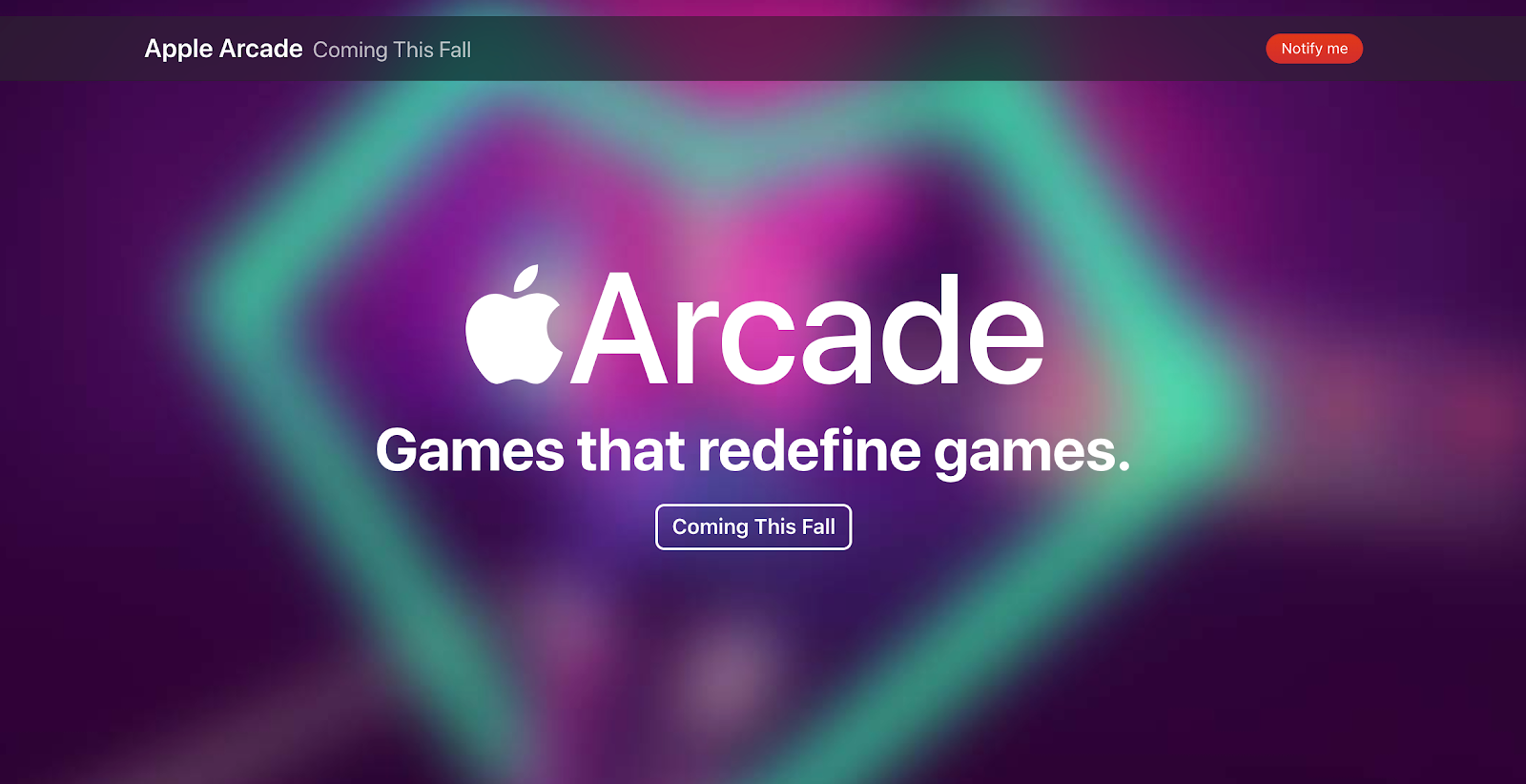 Coming Soon Page: Screenshot of Apple Arcade coming soon page