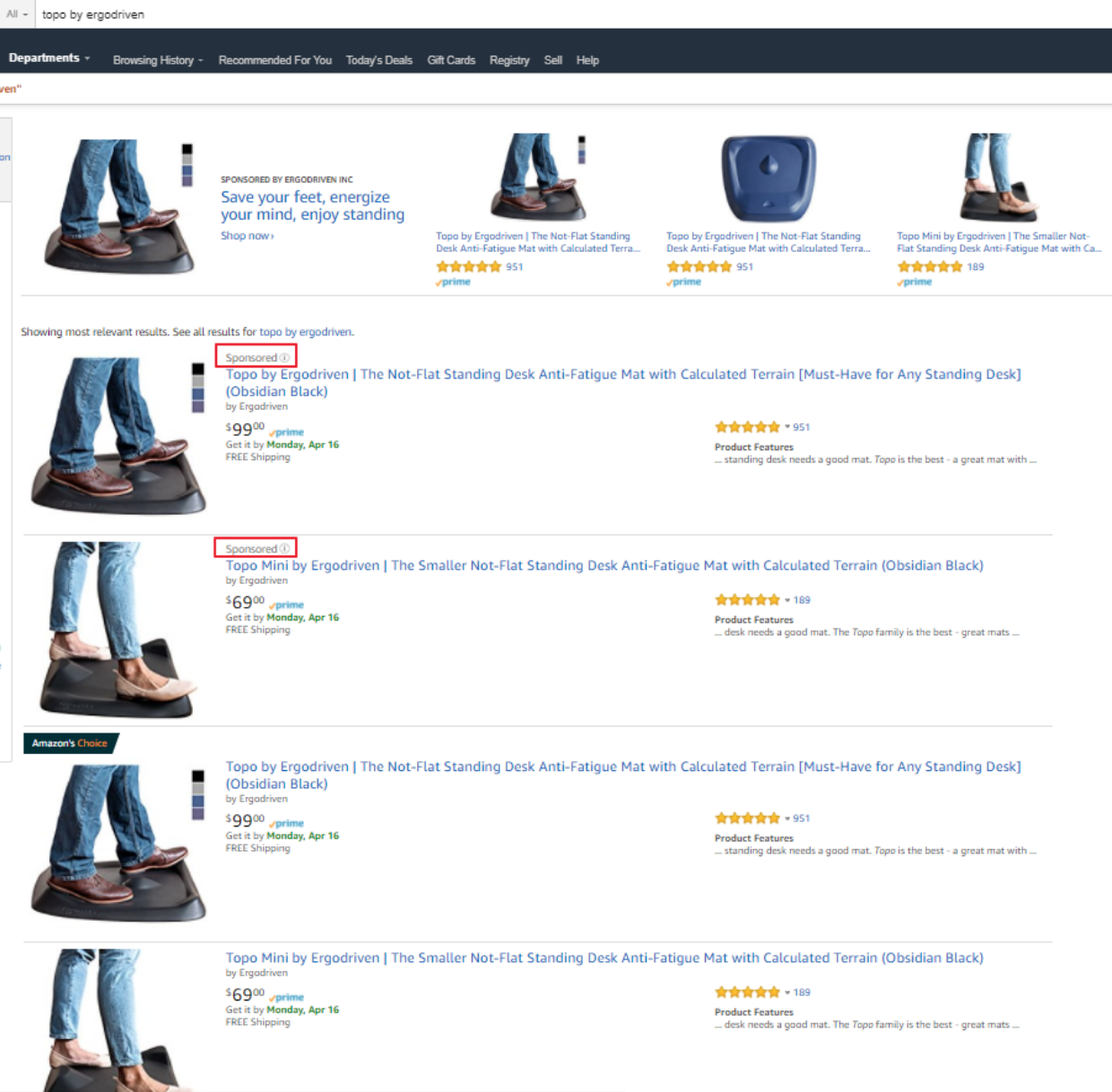 Screenshot showing search results on amazon