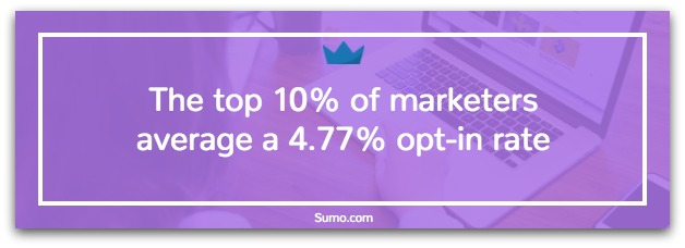 Banner showing top opt-in rate stats