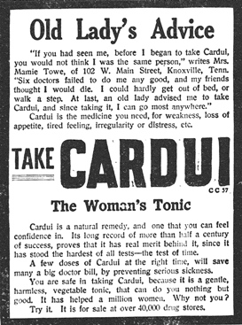 A really old newspaper article showing a woman
