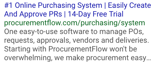 Copywriting Examples - #1 Online Purchasing System - ProcurementFlow