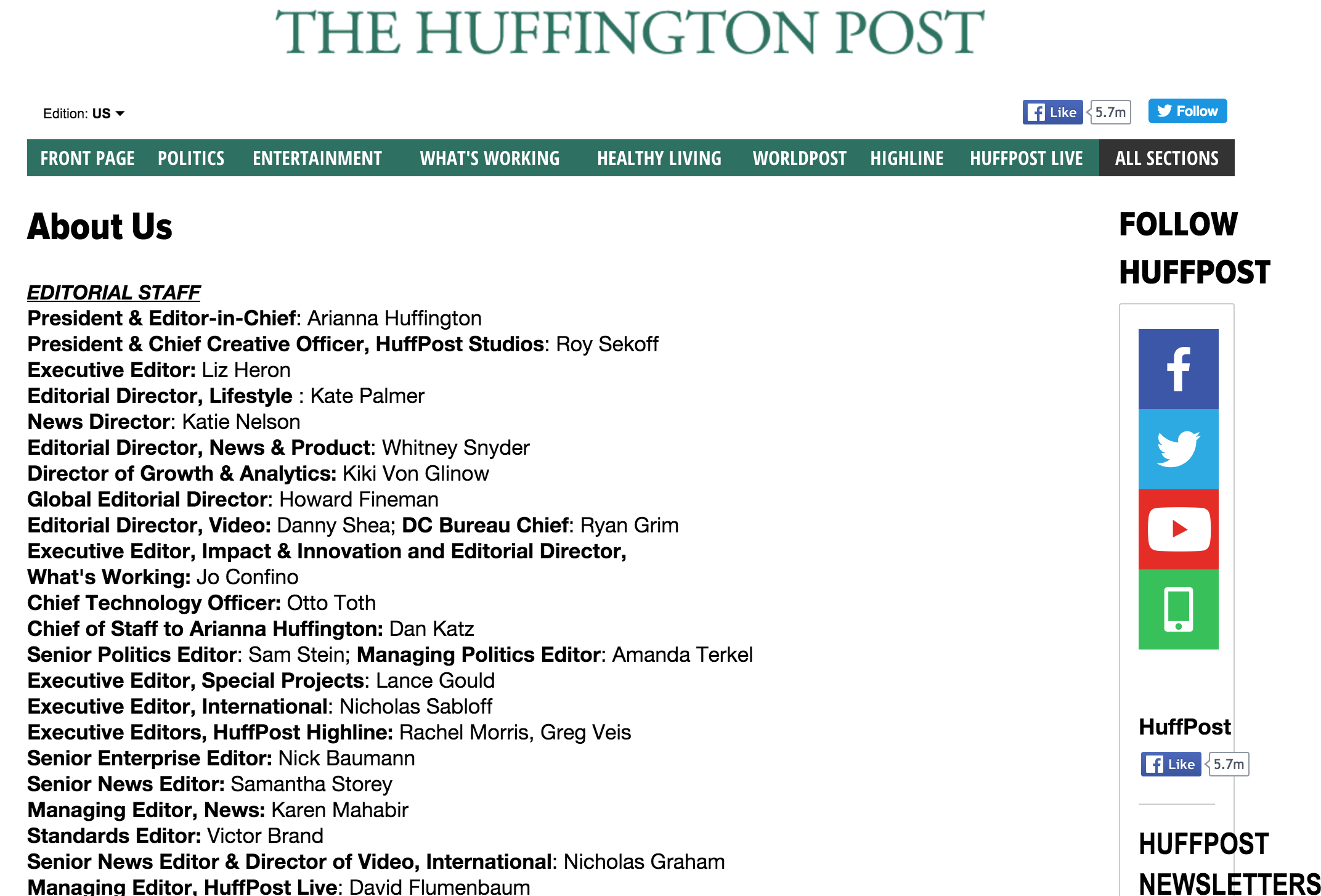Screenshot showing the editorial stuff of the Huffington Post