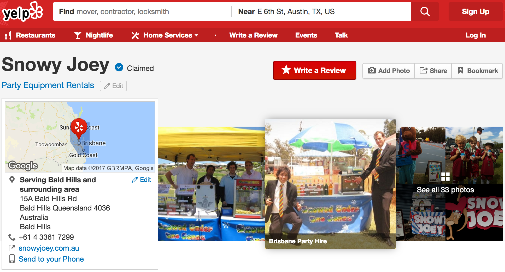 Screenshot showing the Yelp page for Snowy Joey