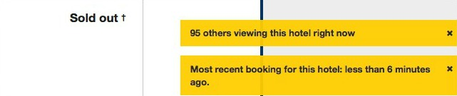 Screenshot of a hotel on booking.com, using scarcity and social proof to create desirability