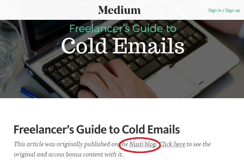 Screenshot showing the source of a content piece on Medium