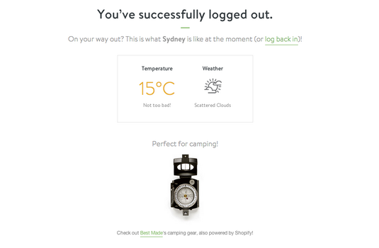 Screenshot showing what the post-logout page looks like on shopify