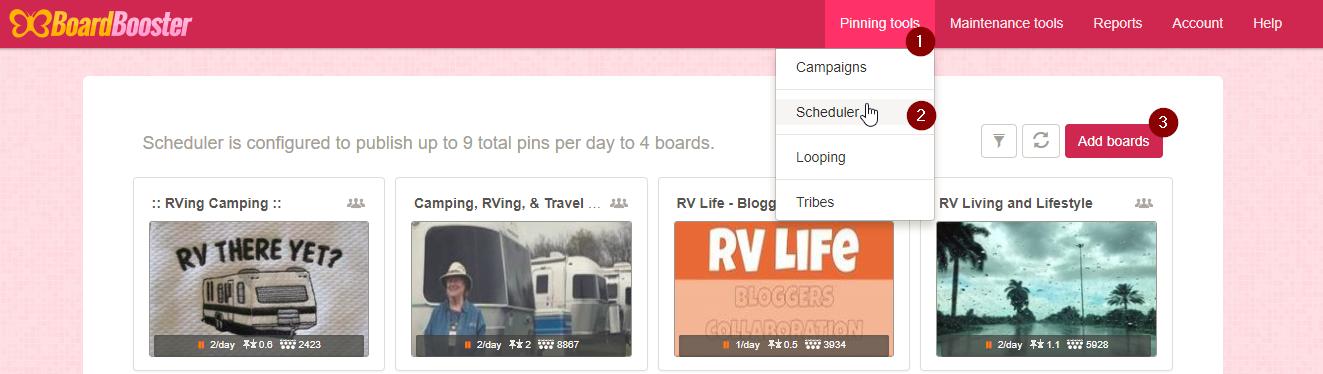Screenshot showing boardboosters