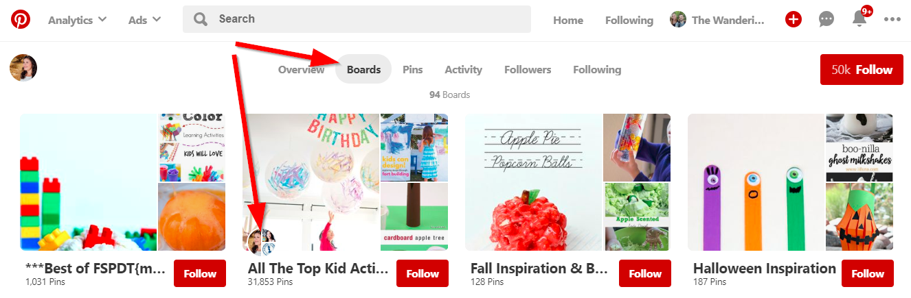 Screenshot showing pinterest boards