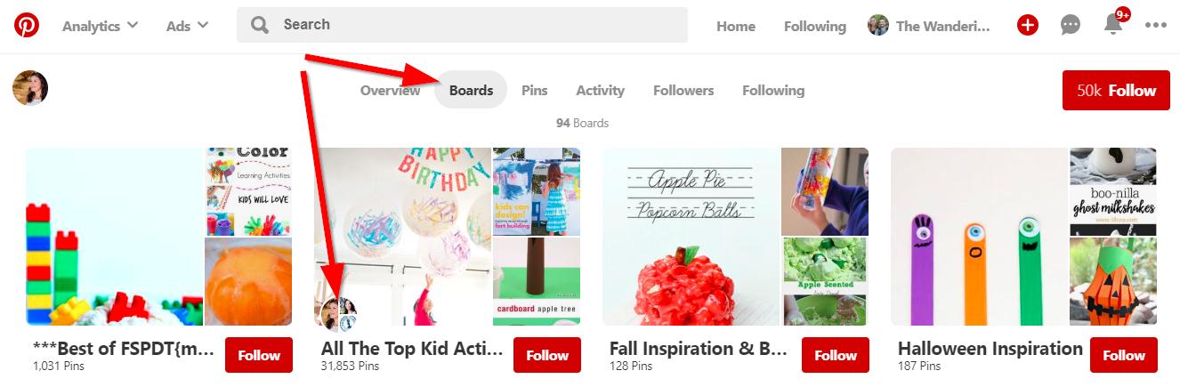 Screenshot showing pinterest boards