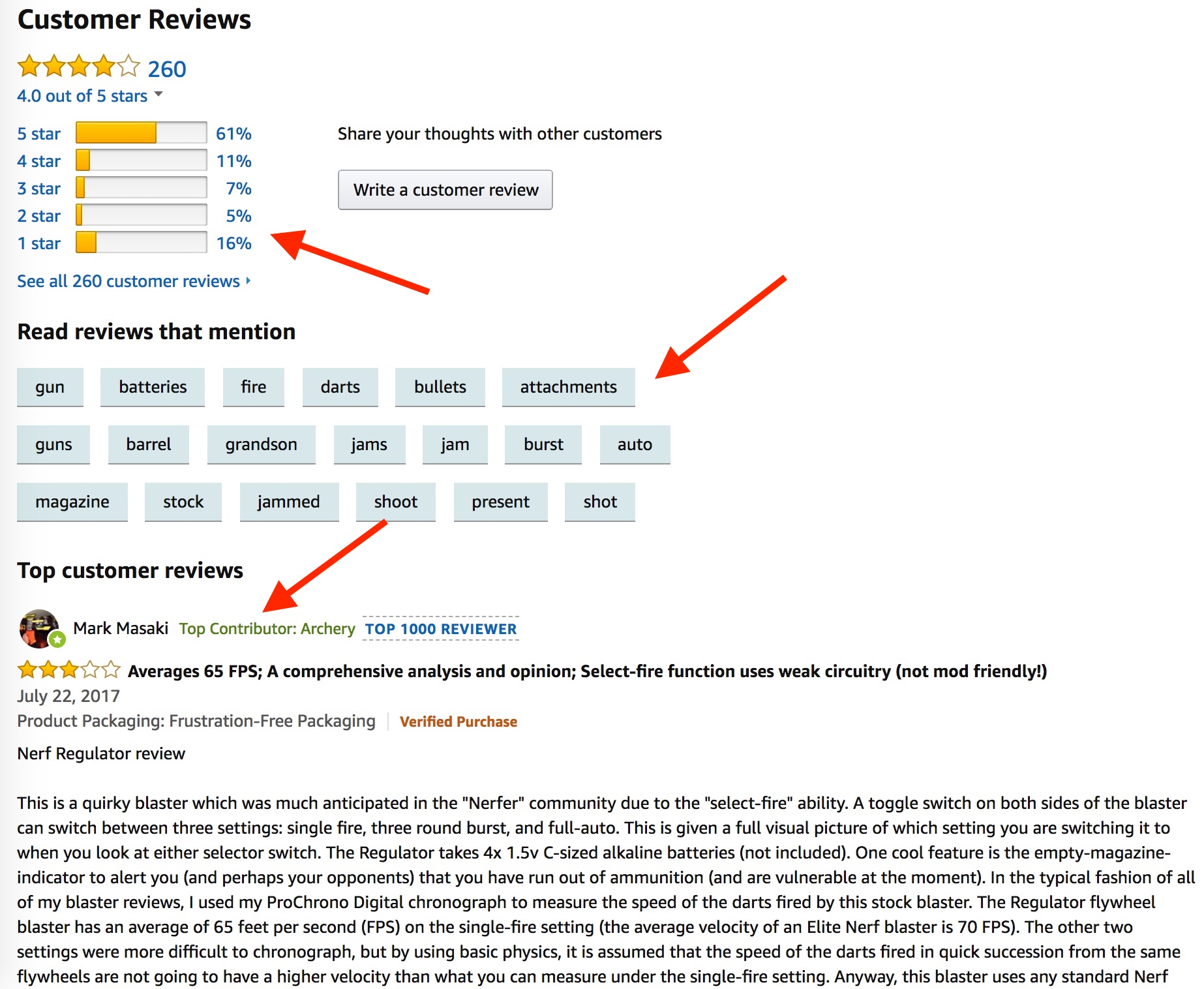 Screenshot showing amazon product reviews