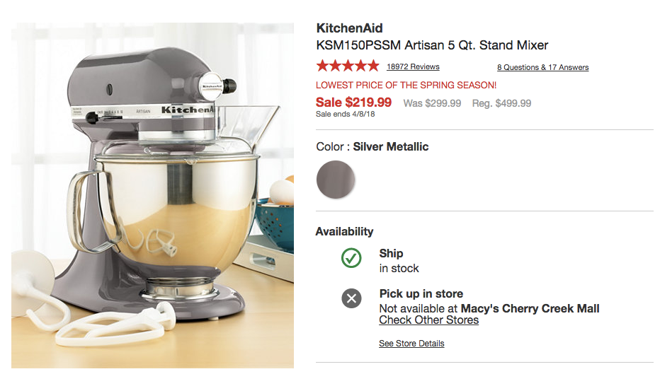 Screenshot showing a product for sale
