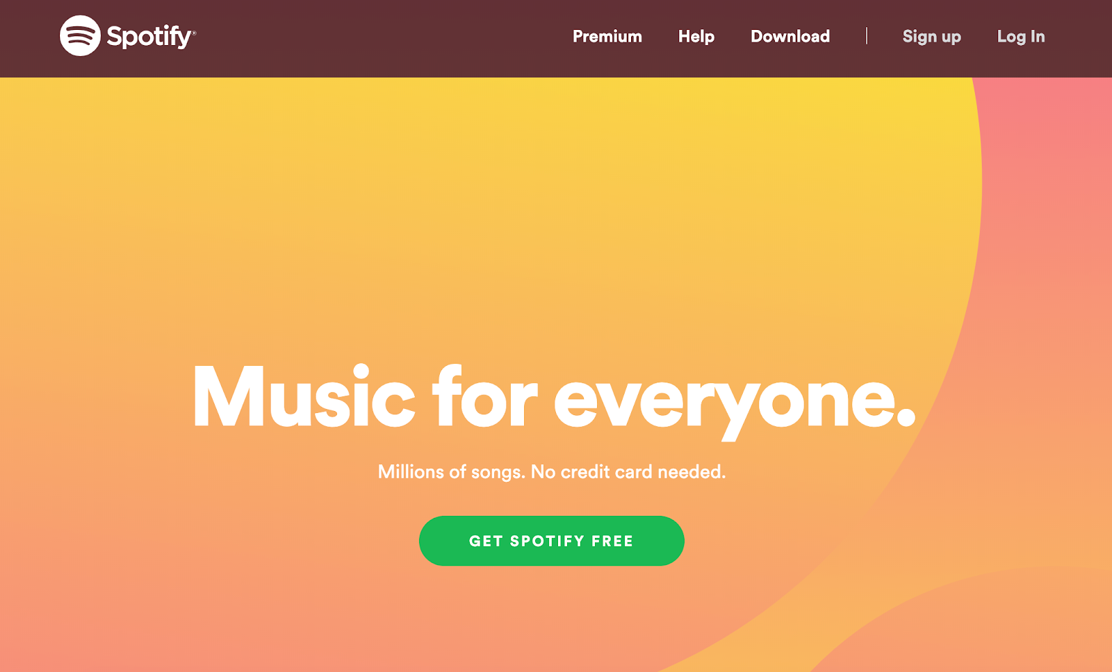 Screenshot of Spotify website using CTA