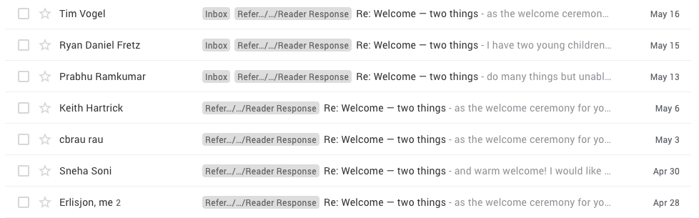 Screenshot of replies to welcome email by Dean Yeong
