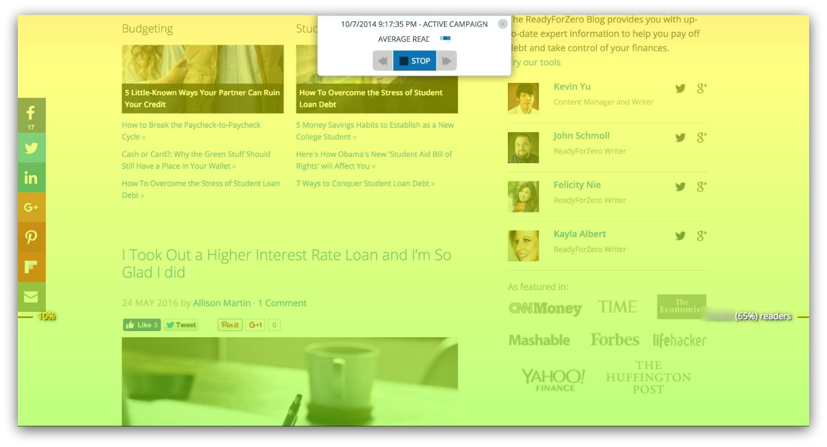 Screenshot showing content analytics for a blog