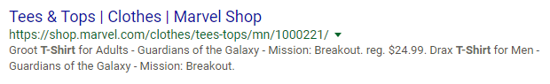 Screenshot showing a google search result