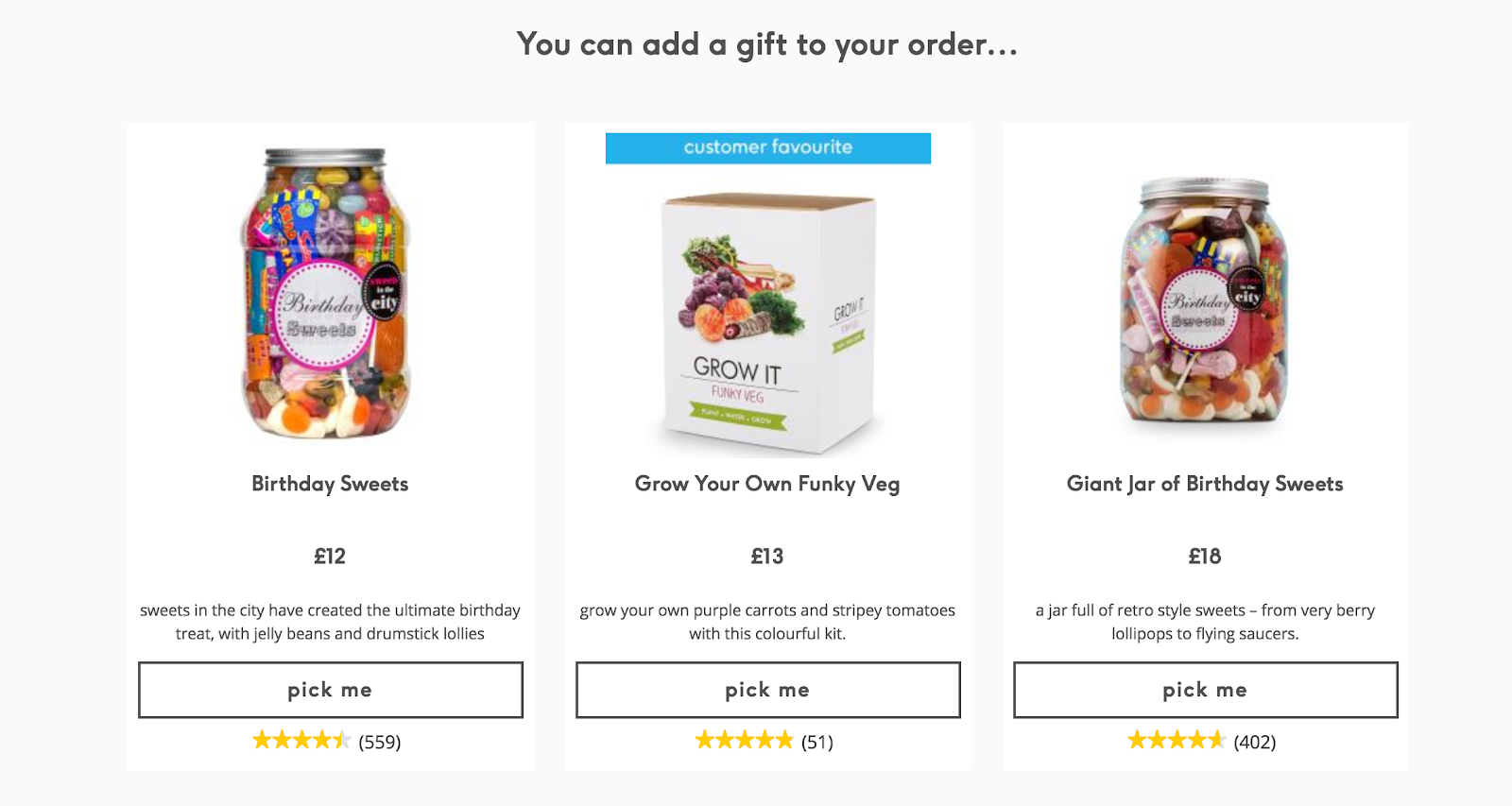 Screenshot showing a gift offer