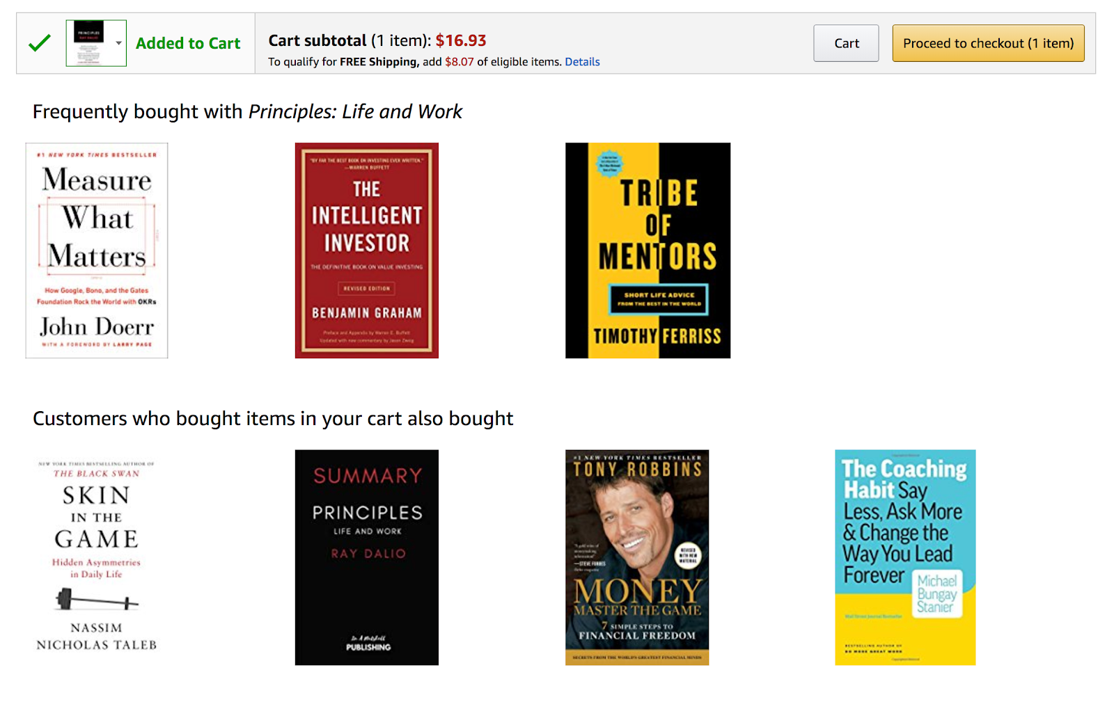 Screenshot showing recommendations on amazon