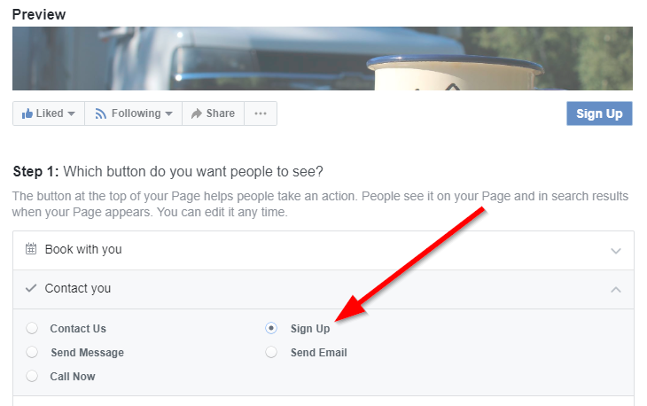 Screenshot of Facebook Call To Actions button
