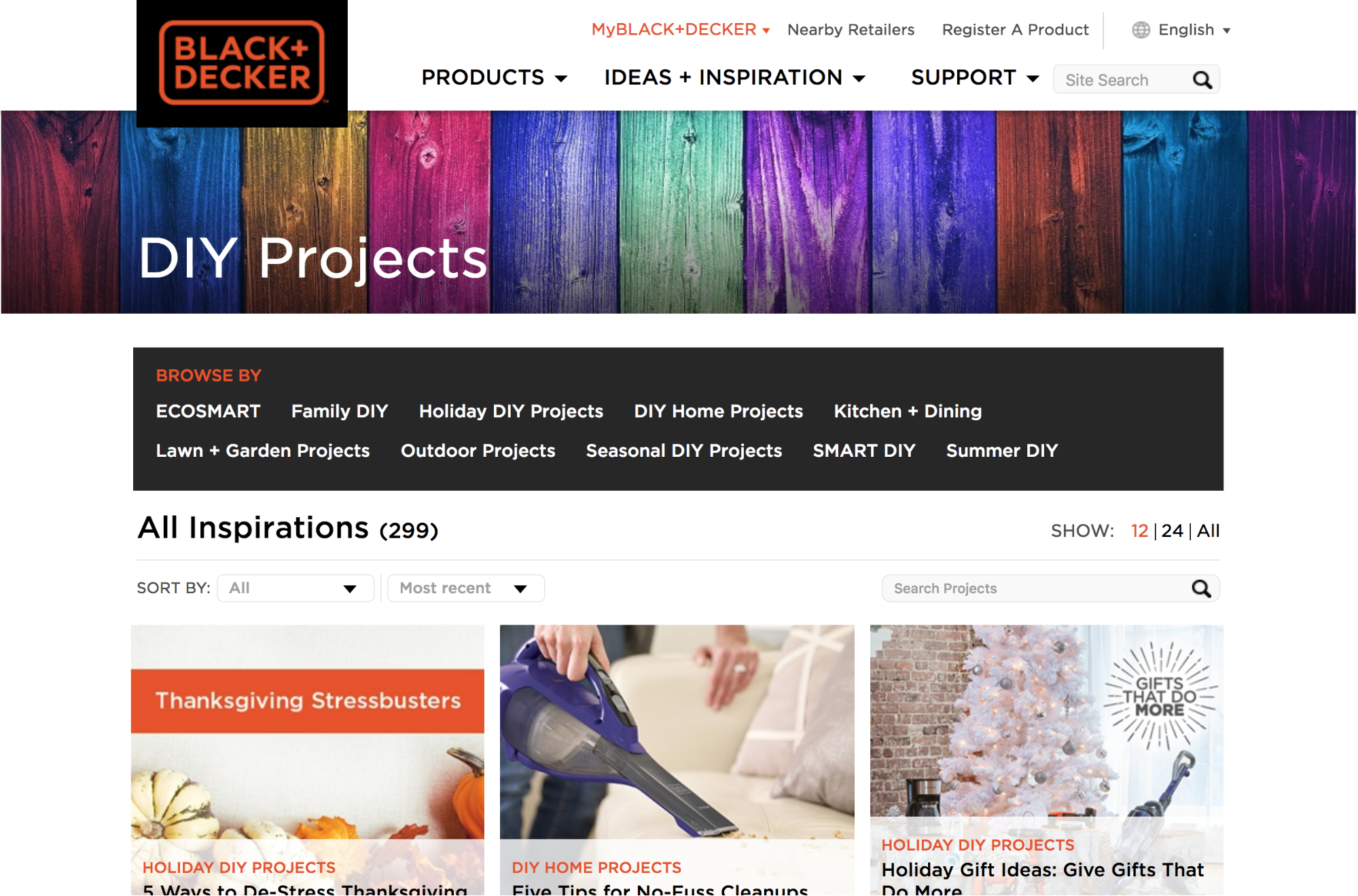 Screenshot showing DIY projects page on black+decker
