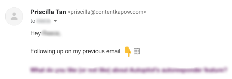 Screenshot of email example for how NOT to start an email (CHECKING IN / FOLLOWING UP)