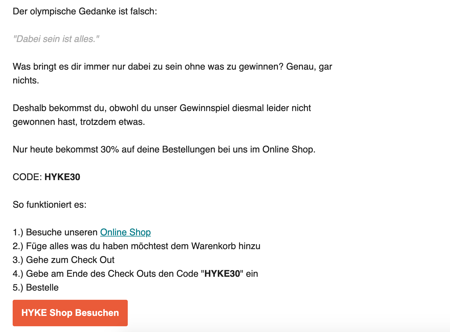 Screenshot showing HYKE sales email