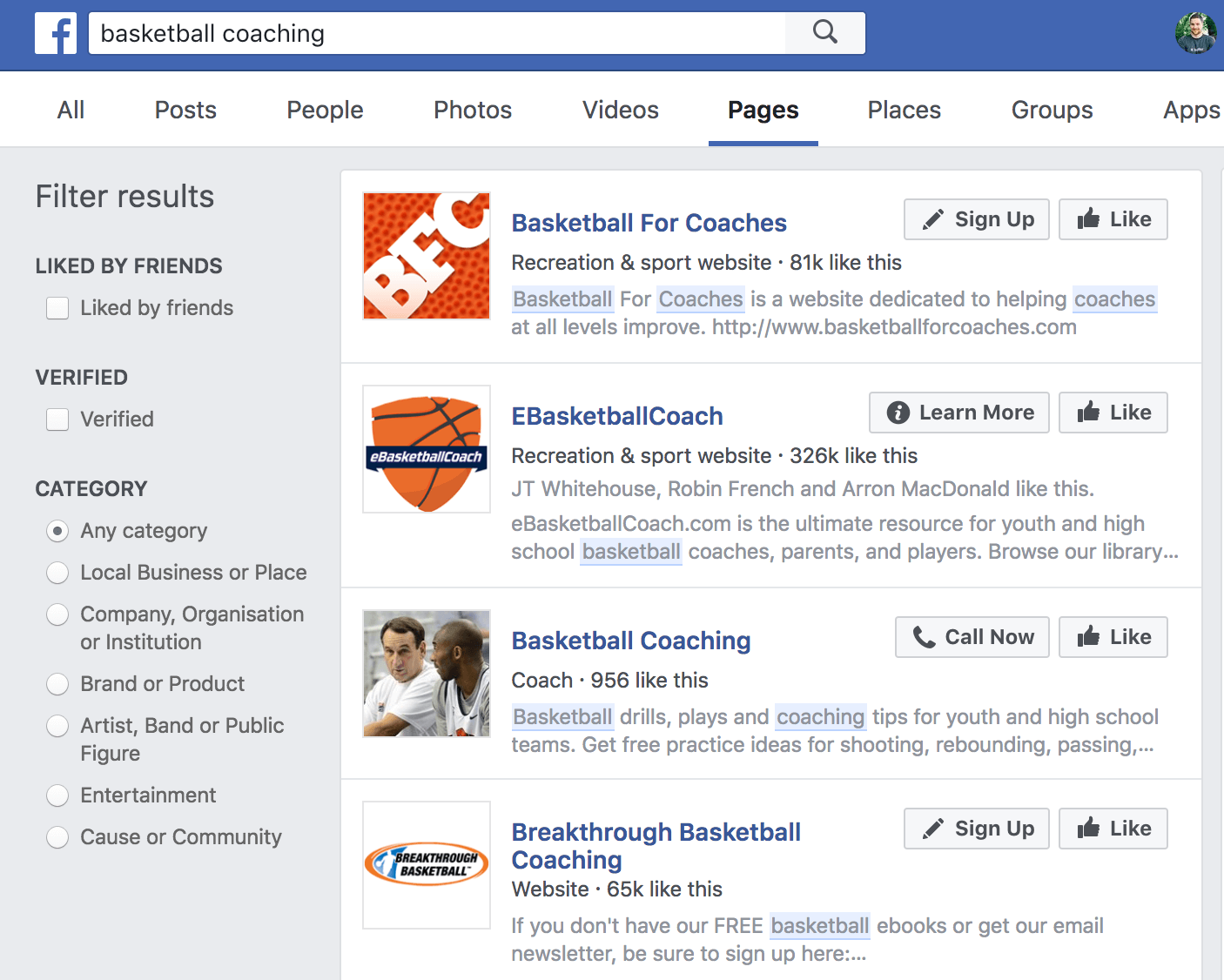 Screenshot showing facebook search results for basketball coaching