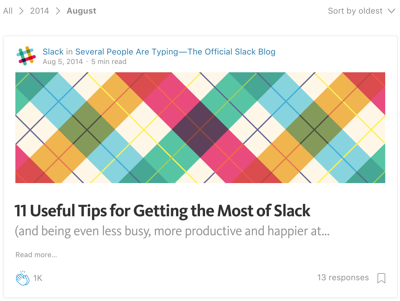 Screenshot showing a medium article by Slack