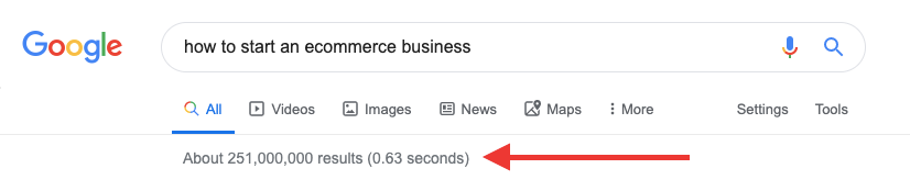 """Screenshot of Google search results for """"how to start an ecommerce business"""" search query"""