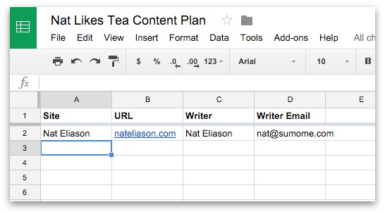 Screenshot showing a content planning worksheet