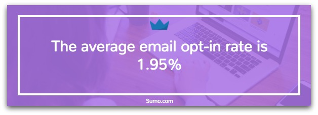 Banner showing average email opt-in rate