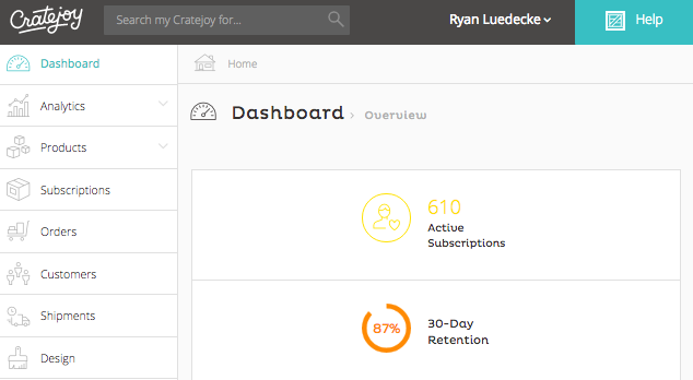 cratejoy dashboard