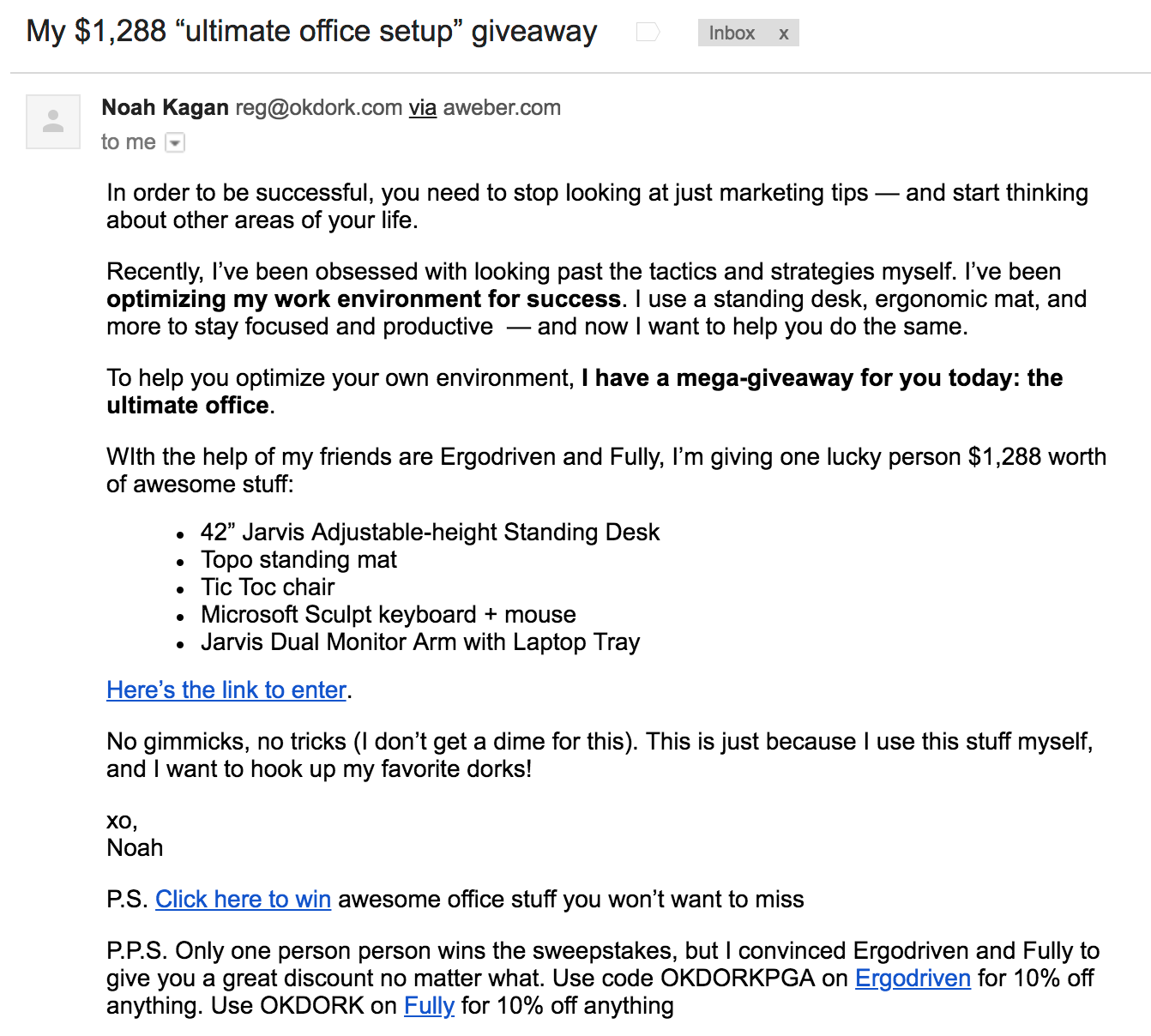 Screenshot showing an email promoting a giveaway