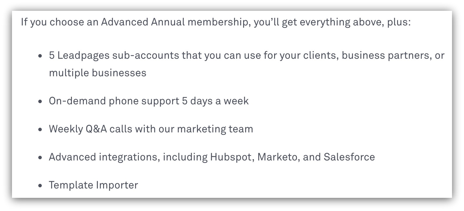 Screenshot showing benefits a user will get for getting a specific membership level