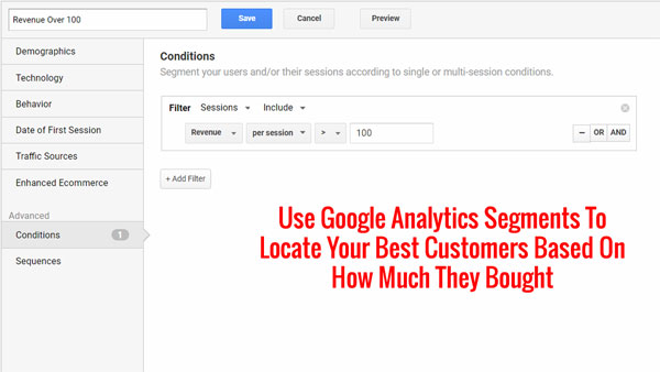 special segment in Google Analytics based on customer revenue over 100
