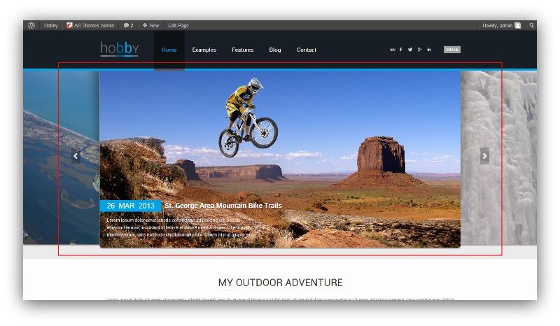 Screenshot showing a blog with slider images