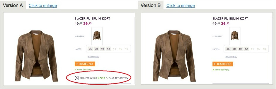 Screenshot of scarcity marketing done by shipping times on an ecommerce store
